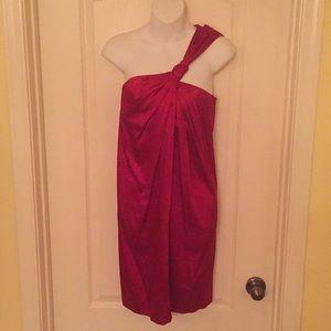 Red satin multi neckline cocktail dress. Size 6